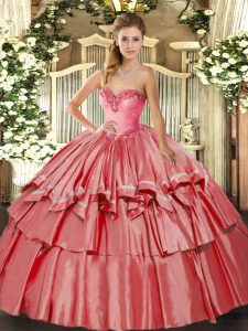 Coral Red Ball Gowns Sweetheart Sleeveless Organza and Taffeta Floor Length Lace Up Beading and Ruffled Layers 15 Quinceanera Dress