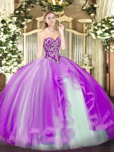Sleeveless Floor Length Beading and Ruffles Lace Up Sweet 16 Quinceanera Dress with Lilac