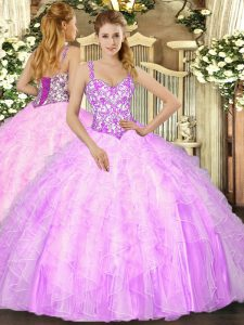 Classical Lilac Straps Lace Up Beading and Ruffles Vestidos de Quinceanera Sleeveless