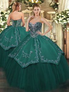 Custom Fit Floor Length Lace Up Ball Gown Prom Dress Dark Green for Military Ball and Sweet 16 and Quinceanera with Beading and Embroidery