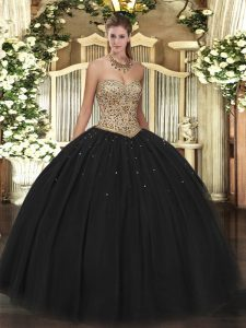 Black Tulle Lace Up Quinceanera Gown Sleeveless Floor Length Beading