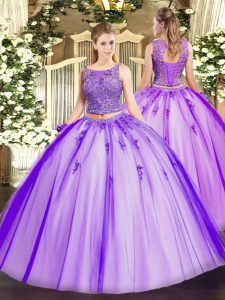 Unique Sleeveless Tulle Floor Length Lace Up Quinceanera Dress in Lavender with Beading and Appliques