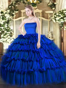 Organza Sleeveless Floor Length Quinceanera Gowns and Ruffled Layers