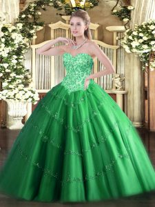 Green 15th Birthday Dress Military Ball and Sweet 16 and Quinceanera with Appliques Sweetheart Sleeveless Lace Up