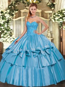 Baby Blue Lace Up Sweetheart Beading and Ruffled Layers Vestidos de Quinceanera Organza and Taffeta Sleeveless