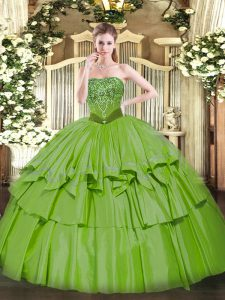 Custom Designed Sleeveless Floor Length Beading and Ruffled Layers Lace Up Vestidos de Quinceanera