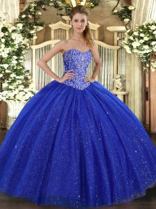 Royal Blue Sleeveless Beading Floor Length Quinceanera Gown