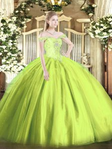 Fashionable Tulle Sleeveless Floor Length Sweet 16 Quinceanera Dress and Beading
