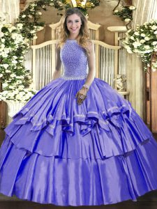 Lavender Organza and Taffeta Lace Up High-neck Sleeveless Floor Length Quince Ball Gowns Beading and Ruffled Layers