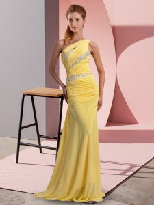 Low Price Beading Prom Evening Gown Yellow Lace Up Sleeveless Floor Length Sweep Train