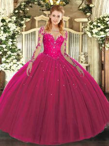 Hot Pink Ball Gowns Scoop Long Sleeves Tulle Floor Length Lace Up Lace Ball Gown Prom Dress