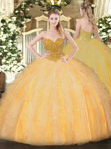 Inexpensive Sleeveless Floor Length Beading and Ruffles Lace Up Sweet 16 Quinceanera Dress with Orange