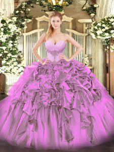 Best Selling Lilac Ball Gowns Organza Sweetheart Sleeveless Beading and Ruffles Floor Length Lace Up Sweet 16 Dress