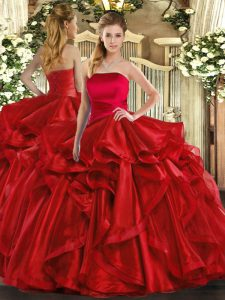 Floor Length Red Sweet 16 Dresses Strapless Sleeveless Lace Up