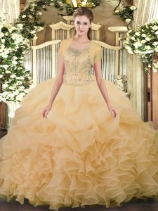 Custom Made Scoop Sleeveless Sweet 16 Quinceanera Dress Floor Length Beading and Ruffled Layers Champagne Tulle