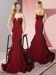 High Quality Sweep Train Mermaid Evening Dress Burgundy V-neck Elastic Woven Satin Sleeveless Side Zipper