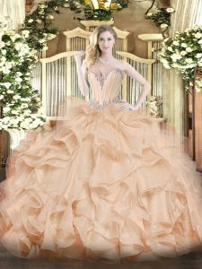 Latest Sleeveless Floor Length Beading and Ruffles Lace Up 15th Birthday Dress with Peach