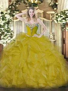 Dazzling Floor Length Ball Gowns Sleeveless Gold Quinceanera Dress Lace Up