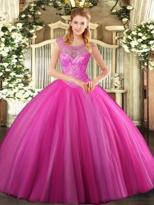 Floor Length Hot Pink Quinceanera Gowns Scoop Sleeveless Lace Up