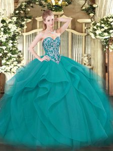 New Style Teal Sweetheart Neckline Beading and Ruffles Sweet 16 Quinceanera Dress Sleeveless Lace Up