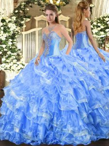Luxurious Organza Sleeveless Floor Length Sweet 16 Dresses and Beading and Ruffled Layers