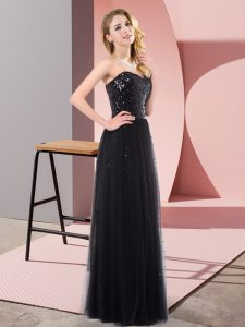 Vintage Sequins Prom Gown Black Lace Up Sleeveless Floor Length