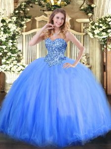 Blue Lace Up Quinceanera Dress Appliques Sleeveless Floor Length