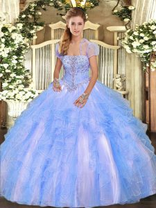 Floor Length Baby Blue Quince Ball Gowns Strapless Sleeveless Lace Up