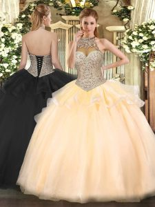 Gorgeous Peach Ball Gowns Tulle Halter Top Sleeveless Beading Floor Length Lace Up Vestidos de Quinceanera