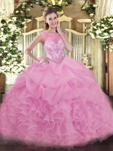 Luxury Scoop Sleeveless Lace Up Quinceanera Dress Lilac Organza