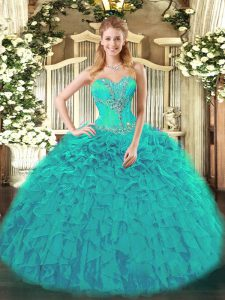 Glittering Teal Sleeveless Beading and Ruffles Quince Ball Gowns
