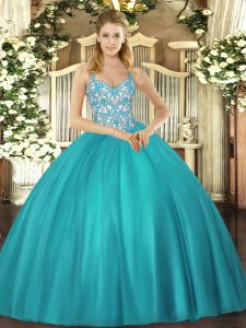 Teal Lace Up Straps Beading and Ruffles Quinceanera Dresses Tulle Sleeveless