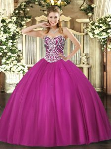 Custom Made Beading Quinceanera Gown Fuchsia Lace Up Sleeveless Floor Length