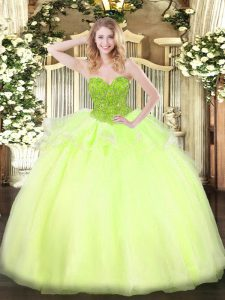 Inexpensive Yellow Green Sleeveless Organza Lace Up Quinceanera Dress for Military Ball and Sweet 16 and Quinceanera