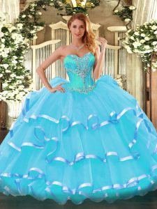 Flirting Sweetheart Sleeveless Quinceanera Gowns Beading and Ruffled Layers Aqua Blue Organza
