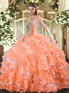 Sweet Beading and Ruffled Layers Quinceanera Gowns Orange Red Lace Up Sleeveless Floor Length