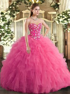 Sleeveless Embroidery and Ruffles Lace Up Quinceanera Gown with Hot Pink