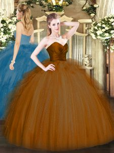 Vintage Brown Ball Gowns Ruffles Vestidos de Quinceanera Zipper Tulle Sleeveless Floor Length