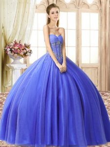Custom Fit Blue Lace Up Sweetheart Beading Sweet 16 Quinceanera Dress Tulle Sleeveless