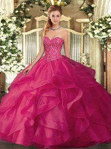 Flirting Sweetheart Sleeveless Tulle Vestidos de Quinceanera Beading and Ruffles Lace Up