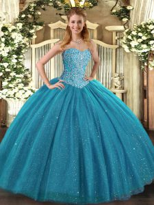 Sleeveless Tulle Floor Length Lace Up 15 Quinceanera Dress in Teal with Beading