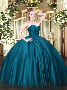 Organza Sweetheart Sleeveless Zipper Ruching 15th Birthday Dress in Teal