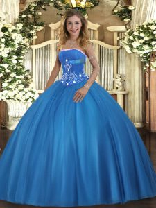Fine Baby Blue Lace Up 15th Birthday Dress Beading Sleeveless Floor Length