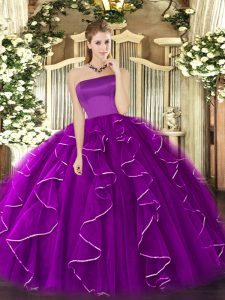 Customized Purple Ball Gowns Strapless Sleeveless Tulle Floor Length Zipper Ruffles Sweet 16 Dresses