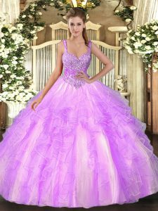 Glamorous Tulle Straps Sleeveless Lace Up Beading and Ruffles Quinceanera Gowns in Lilac