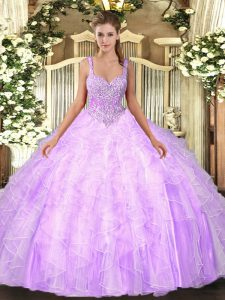Customized Beading and Ruffles Quince Ball Gowns Lilac Lace Up Sleeveless Floor Length