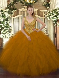 Sumptuous V-neck Sleeveless Zipper Sweet 16 Quinceanera Dress Brown Tulle