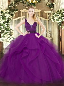 Simple Purple Ball Gowns Beading and Ruffles 15 Quinceanera Dress Zipper Tulle Sleeveless Floor Length