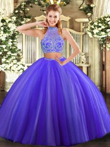 Purple Sleeveless Floor Length Beading Criss Cross Sweet 16 Dresses