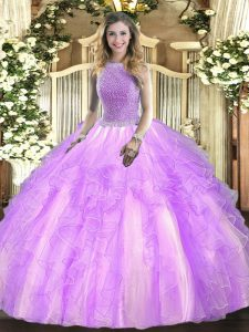 Exquisite Square Sleeveless Tulle Quinceanera Dresses Beading and Ruffles Lace Up